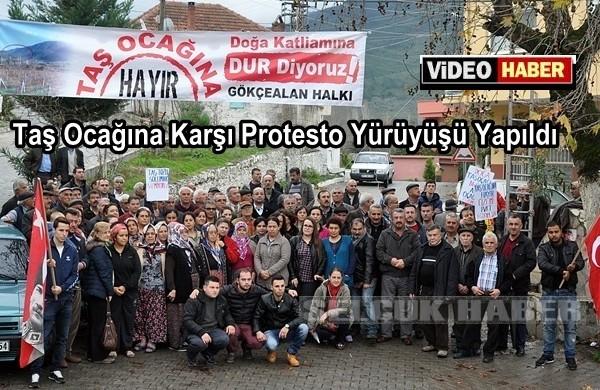 Taş Ocağına Karşı Protesto Yürüyüşü Yapıldı