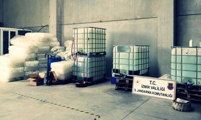 Torbalı da 2 ton sahte dezenfektan ele geçirildi